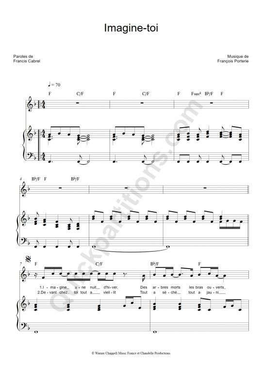 Imagine toi Piano Sheet Music - Francis Cabrel