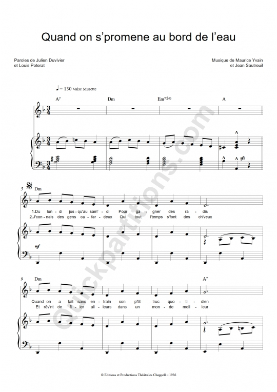 Quand on s'promène au bord de l'eau Piano Sheet Music - Jean Gabin