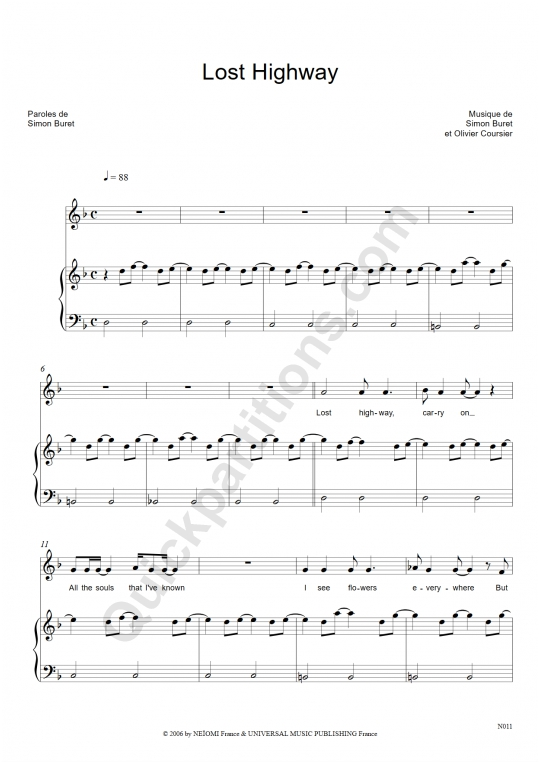 Lost Highway Piano Sheet Music Aaron Digital Sheet Music