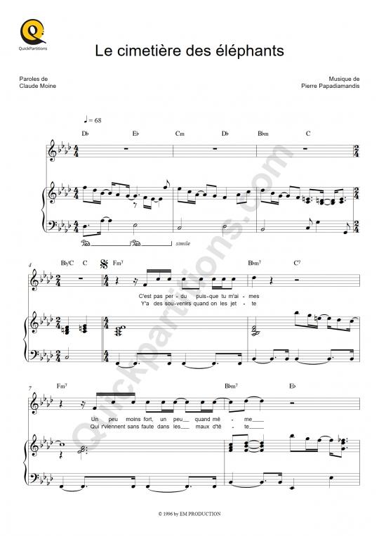Partition Piano Le Cimetière Des Eléphants - Eddy Mitchell