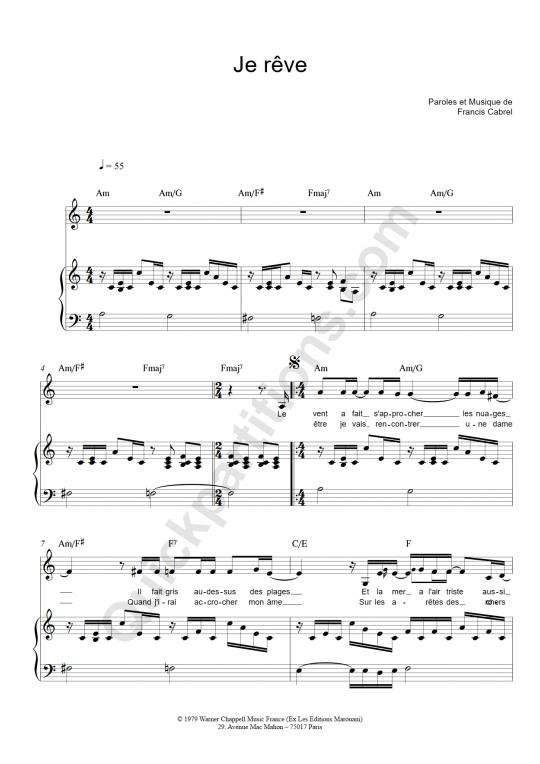 Partition piano Je rêve - Francis Cabrel