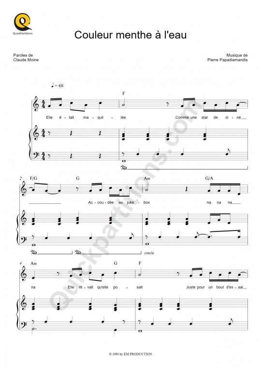 Partition piano Couleur menthe à l'eau - Eddy Mitchell