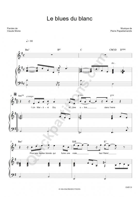 Partition piano Le blues du blanc - Eddy Mitchell