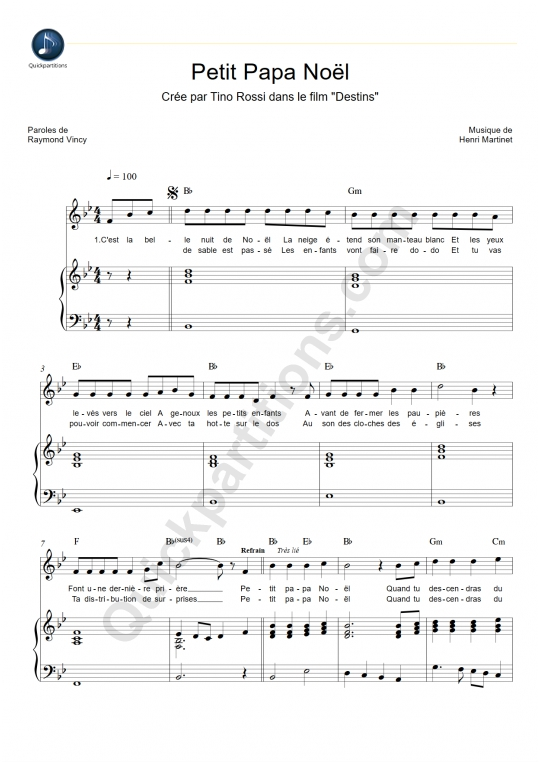 Partition Piano Petit Papa No�l - Tino Rossi