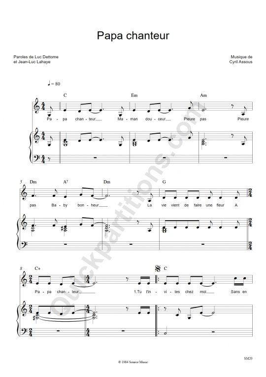 Papa chanteur Piano Sheet Music - Jean-Luc Lahaye
