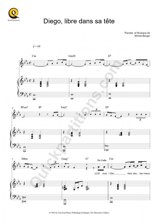 Partition piano Diego, libre dans sa tête - Michel Berger