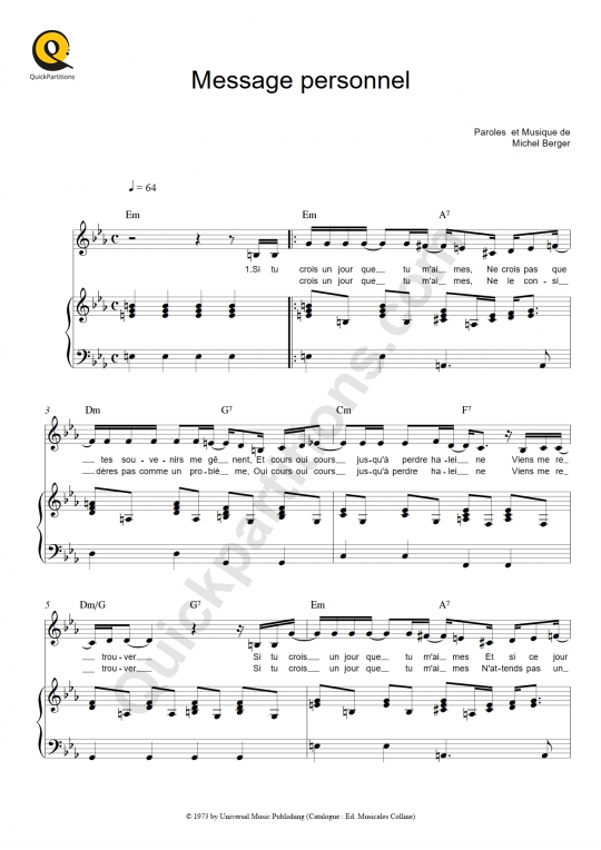 Message personnel Piano Sheet Music - Michel Berger