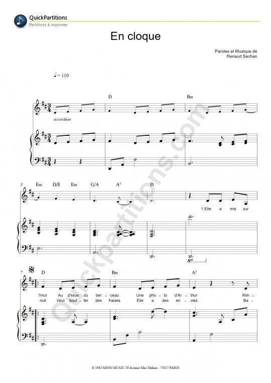 Partition piano En cloque - Renaud