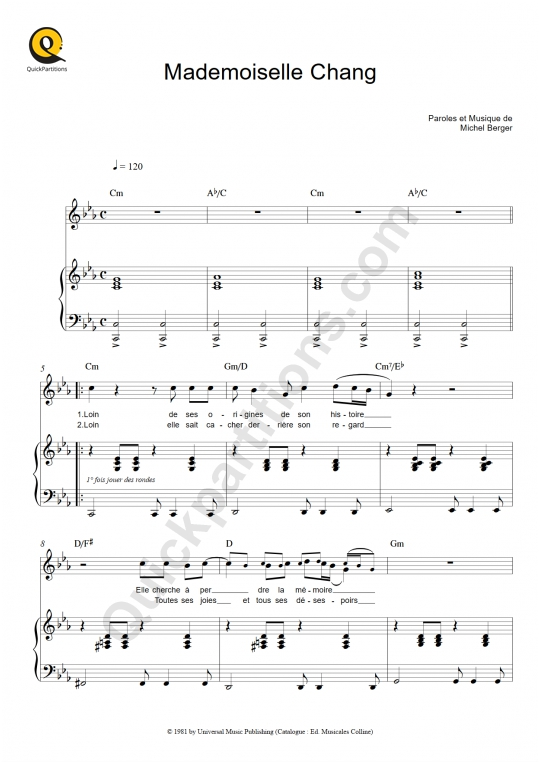 Partition piano Mademoiselle Chang - Michel Berger