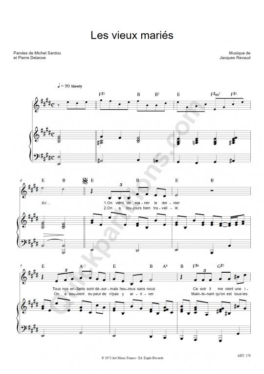 Les vieux mariés Piano Sheet Music - Michel Sardou