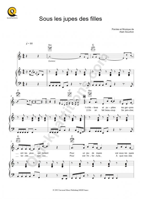 Sous les jupes des filles Piano Sheet Music - Alain Souchon