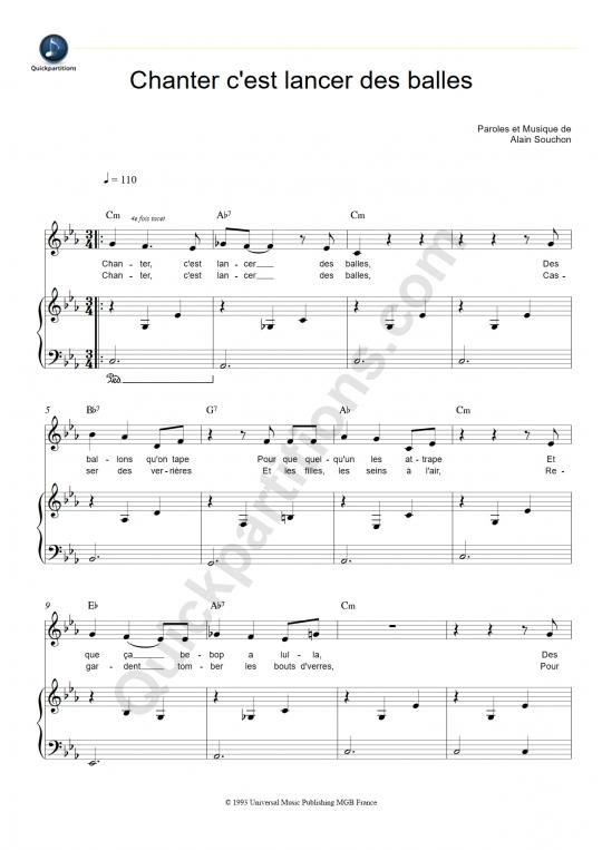 Chanter c'est lancer des balles Piano Sheet Music - Alain Souchon