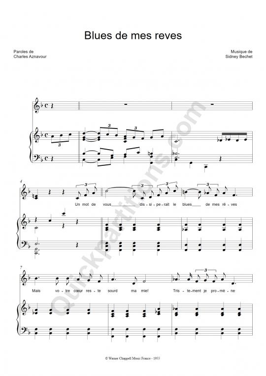 Partition piano Blues de mes rêves - Sidney Bechet