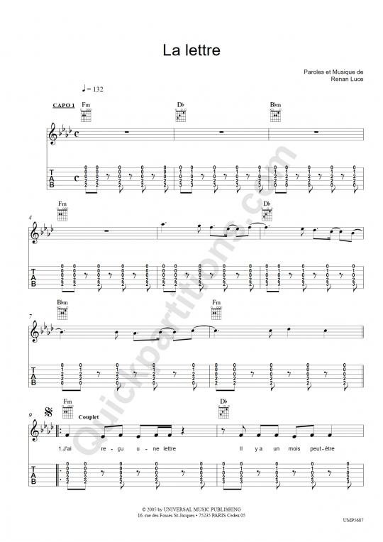 La lettre Guitar Tab - Renan Luce