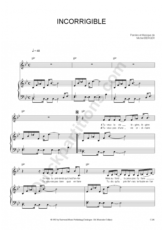 Partition piano Incorrigible - Michel Berger