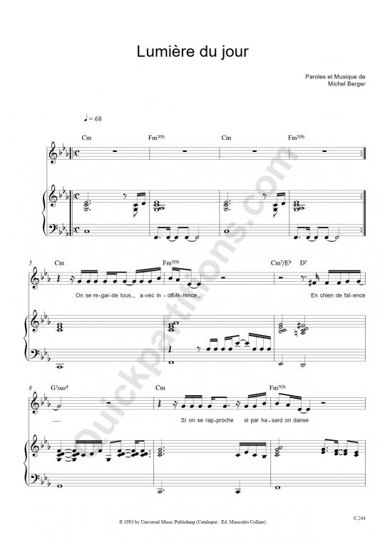 Partition piano Lumière du jour - Michel Berger