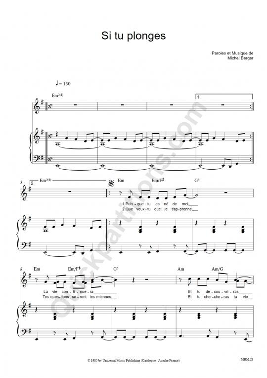 Partition piano Si tu plonges - Michel Berger