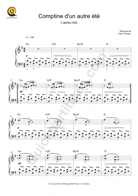 Partition piano Comptine d'un autre été : l'après-midi - Le fabuleux destin d'Amélie Poulain