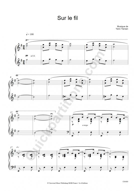 Partition piano Sur le fil - Yann Tiersen
