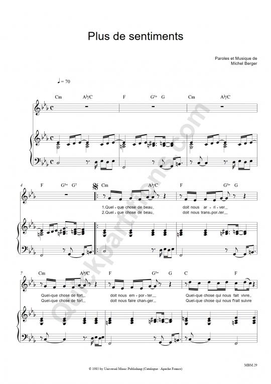 Partition piano Plus de sentiments - Michel Berger