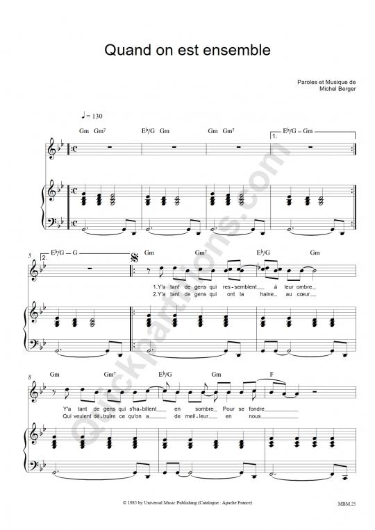 Partition piano Quand on est ensemble - Michel Berger