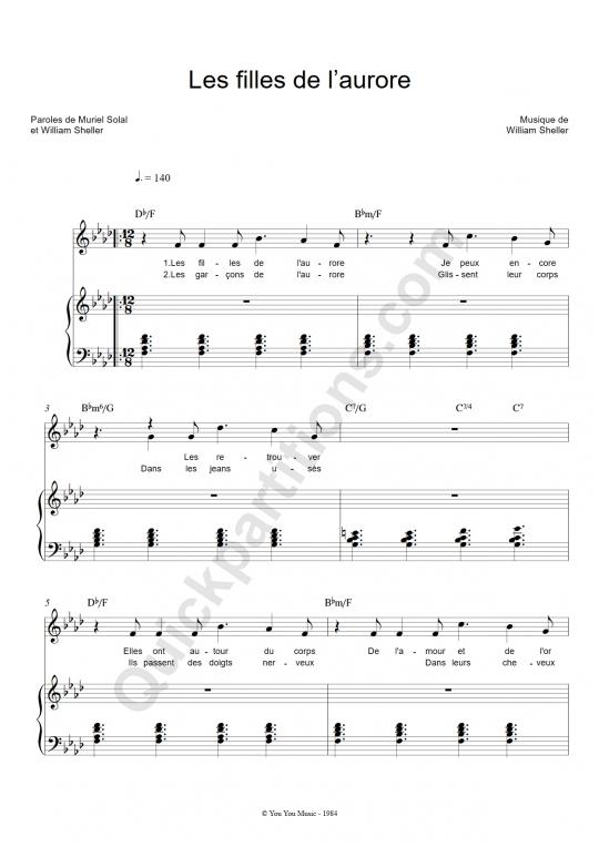 Les filles de l'aurore Piano Sheet Music - William Sheller