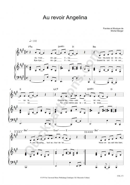 Partition piano Au revoir Angelina - Michel Berger