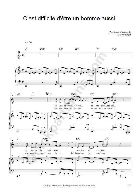 Partition piano C'est difficile d'être un homme aussi - Michel Berger