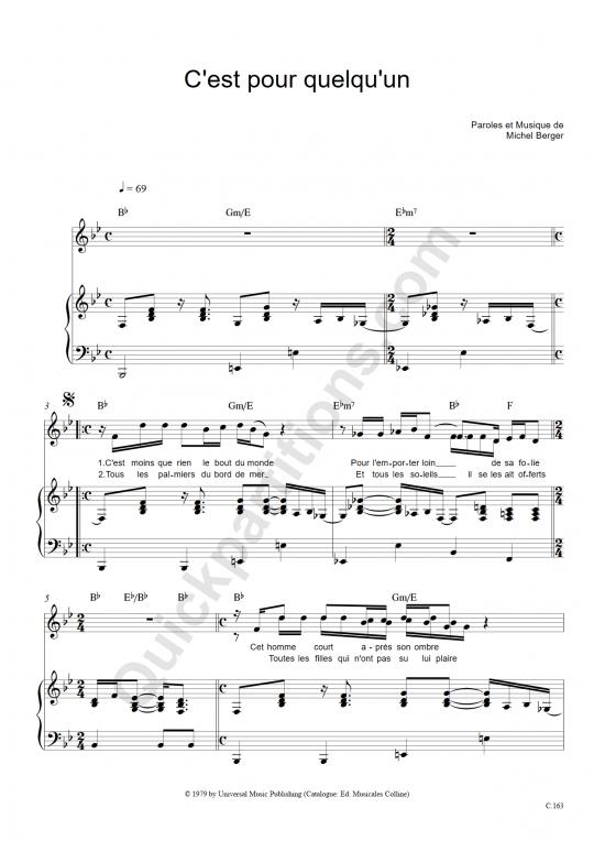 Partition piano C'est pour quelqu'un - Michel Berger