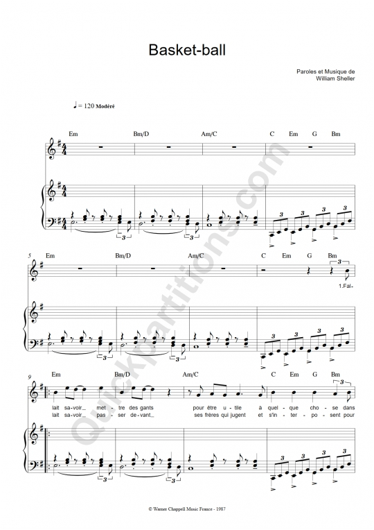 Partition piano Basket Ball - William Sheller