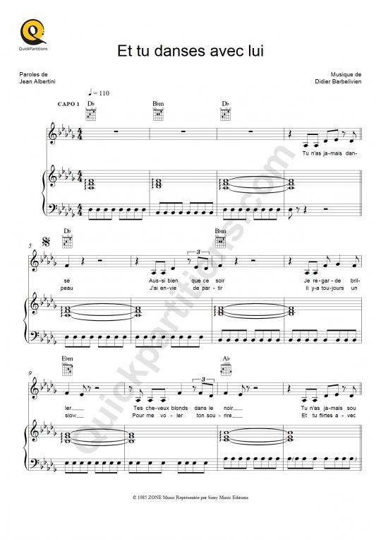 Partition piano Et tu danses avec lui - C Jérôme