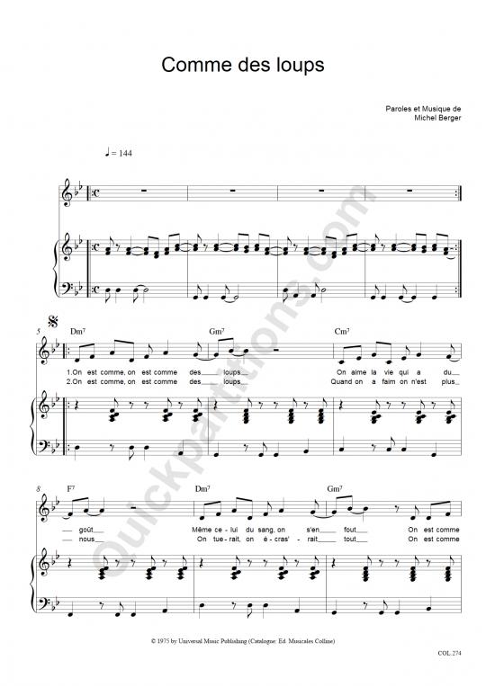 Partition piano Comme des loups - Michel Berger