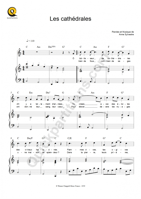 Les cathédrales Piano Sheet Music - Anne Sylvestre