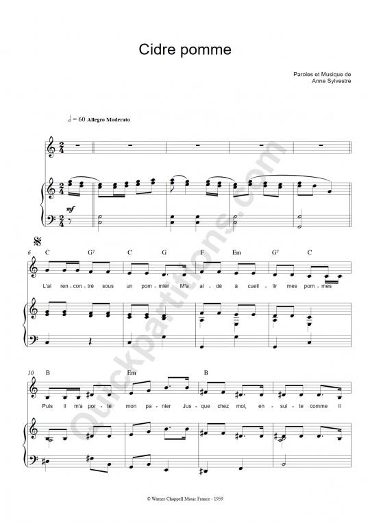 Partition piano Cidre pomme - Anne Sylvestre