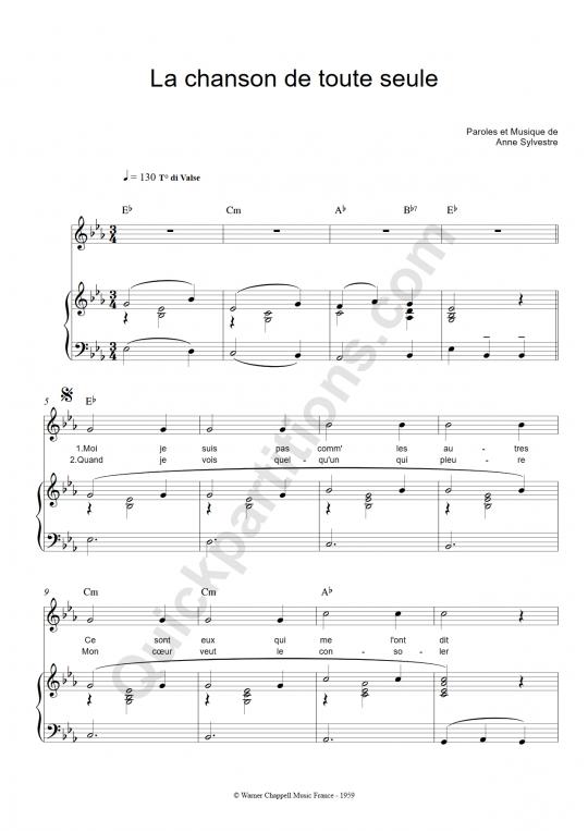 Partition piano La chanson de toute seule - Anne Sylvestre