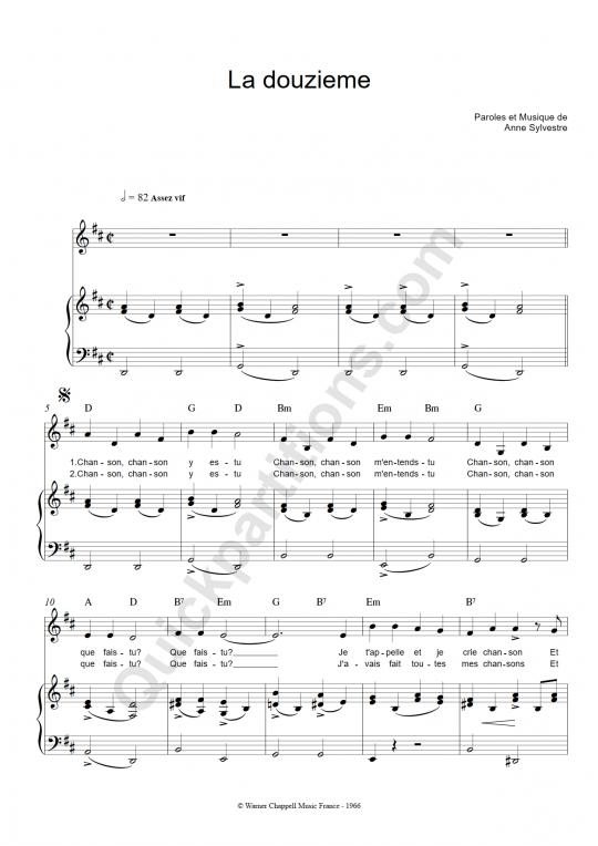 Partition piano La douzieme - Anne Sylvestre