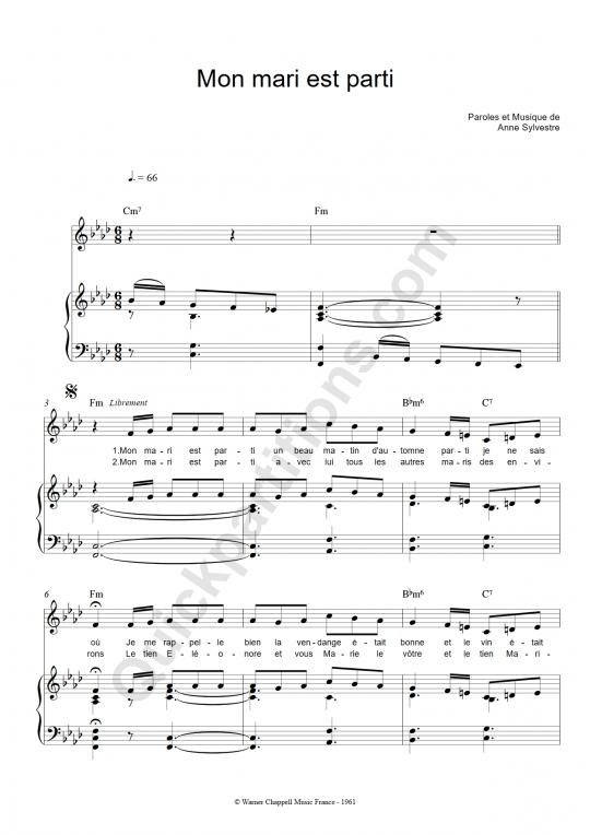 Partition piano Mon mari est parti - Anne Sylvestre