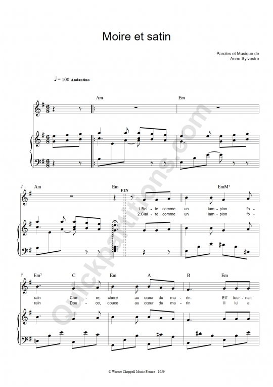 Moire et satin Piano Sheet Music - Anne Sylvestre