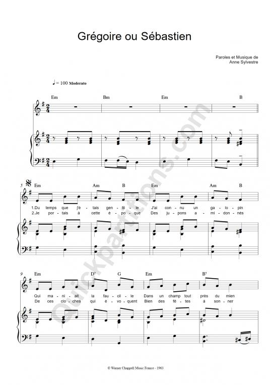 Partition piano Grégoire ou Sébastien - Anne Sylvestre