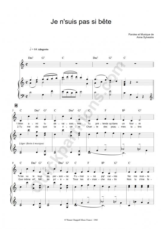 Partition piano Je N'suis Pas Si Bête - Anne Sylvestre