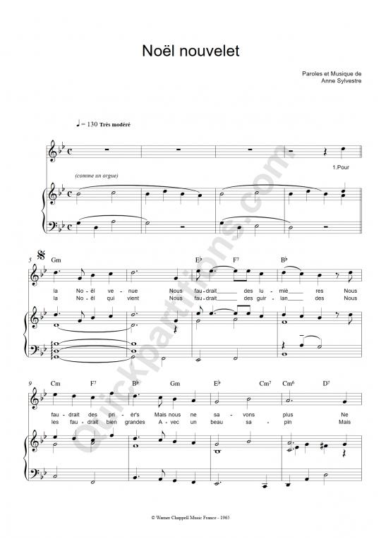 Noël nouvelet Piano Sheet Music - Anne Sylvestre