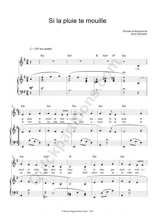 Si la pluie te mouille Piano Sheet Music - Anne Sylvestre