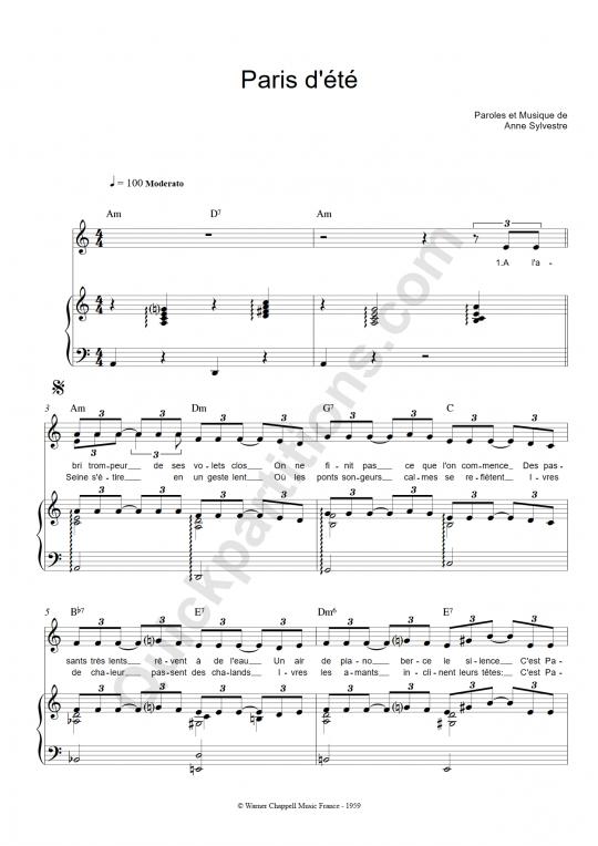 Paris d'été Piano Sheet Music - Anne Sylvestre