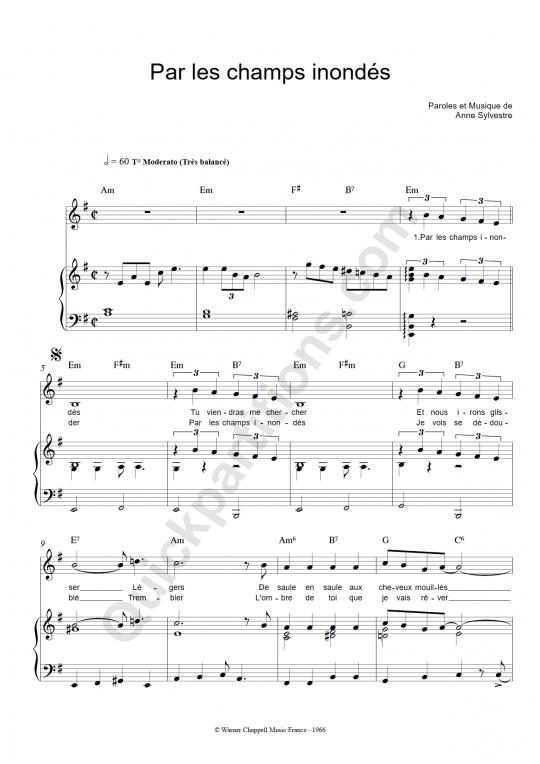 Partition piano Par les champs inondés - Anne Sylvestre