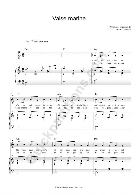 Partition piano Valse marine - Anne Sylvestre