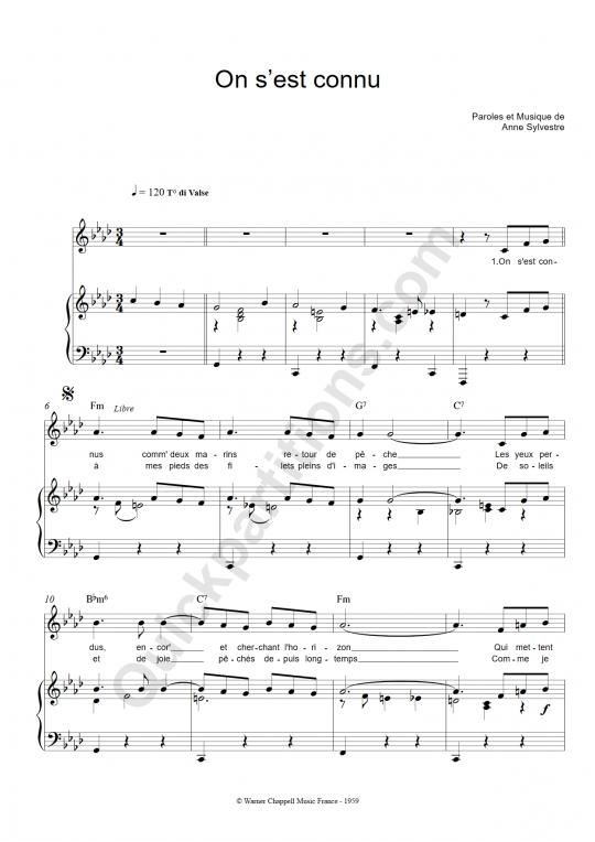 Partition piano On S'est Connus - Anne Sylvestre