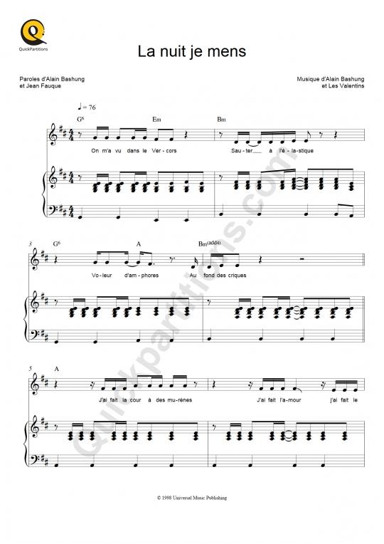 Partition piano La nuit je mens - Alain Bashung