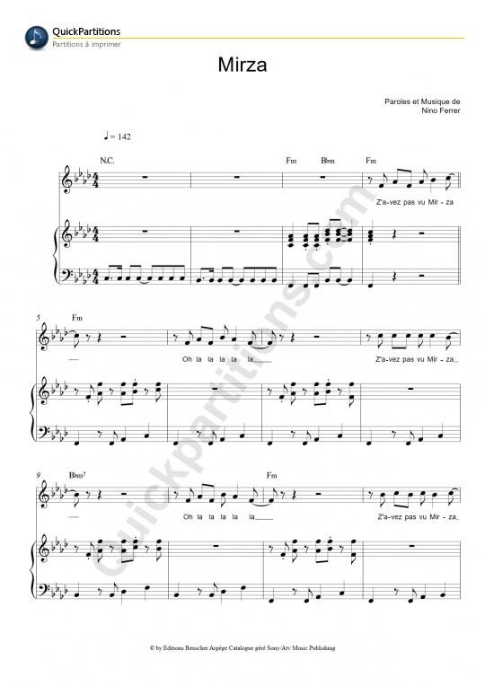 Partition piano Mirza - Nino Ferrer