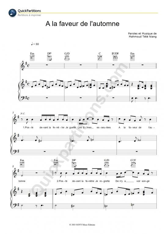 A la faveur de l'automne Piano Sheet Music - Tété