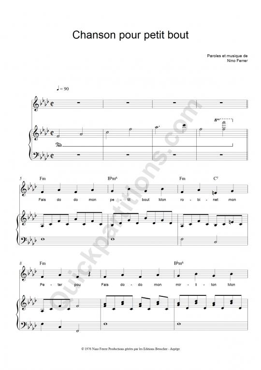 Partition piano Chanson pour petit bout - Nino Ferrer
